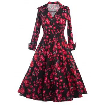 Long Sleeve Floral Print Surplice Dress