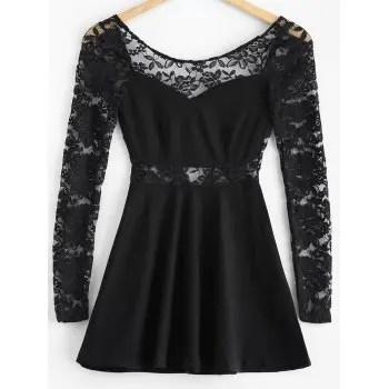 Lace Insert Backless Dress