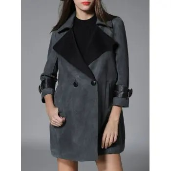 Lapel Pocket Design Suede Coat