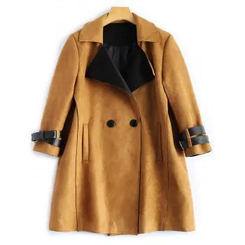 Sueded Lapel Trench Coat