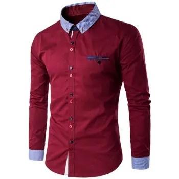 Turn Down Collar Long Sleeve Shirt