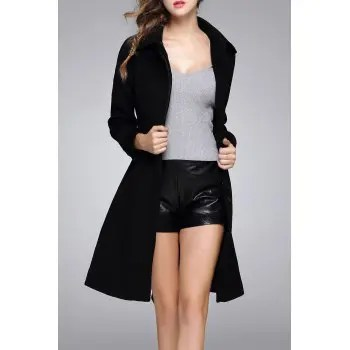 Wool Blend Knee Length Coat With Belt
