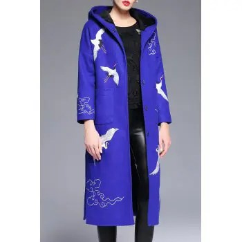 Wool Blend Hooded Embroidered Coat