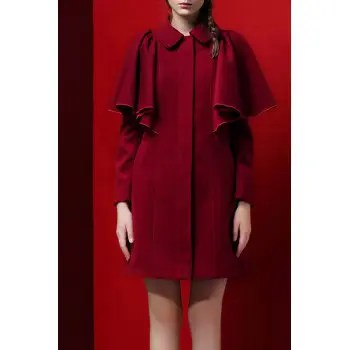 Flounce Wool Blend Cloak Coat