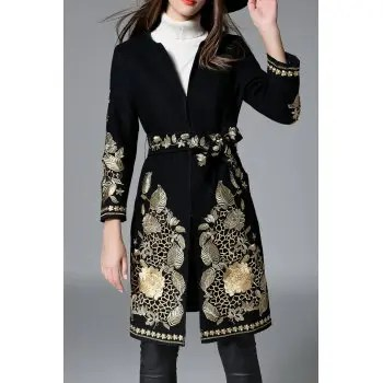 Embroidered Belted Coat