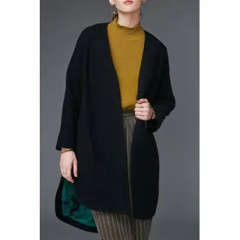 Slit Open Front Wool Coat