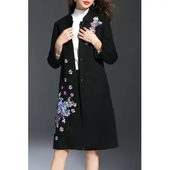 Vinatge Floral Wool Coat