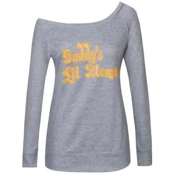 Skew Neck Letter Print Halloween Sweatshirt