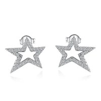 Rhinestoned Pentagram Stud Earrings, SILVER in Earrings ...