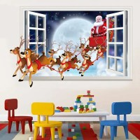 2018 Christmas Santa Flying 3D Window Design Wall Stickers ...
