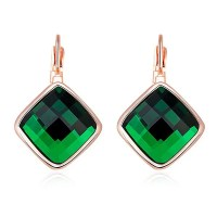 2017 Faux Emerald Geometric Earrings ROSE GOLD In Earrings ...
