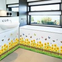 2018 Sunflower Living Room Skirting Line Wall Stickers ...