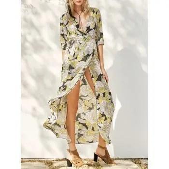 Slit Printed Maxi Dress