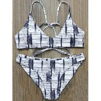 Striped Strappy Bikini Set