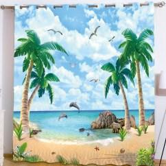 Palm Tree Kitchen Decor Rustic Clock Curtains Modern Design