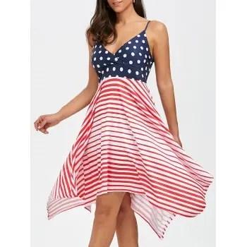 Bohemian Stripe Polka Dot Asymmetrical Slip Dress