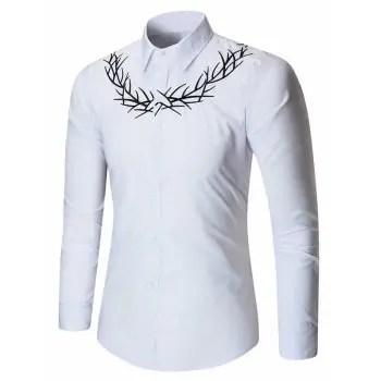 Turndown Collar Embroidered Shirt