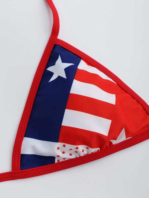 2018 Patriotic American Flag Halter String Bikini Set Red
