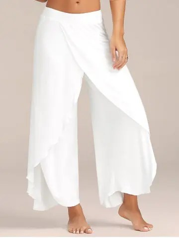 Firstgrabber High Slit Flowy Layered Palazzo Pants