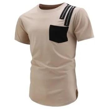 Zip Pocket Curved Hem T Shirt