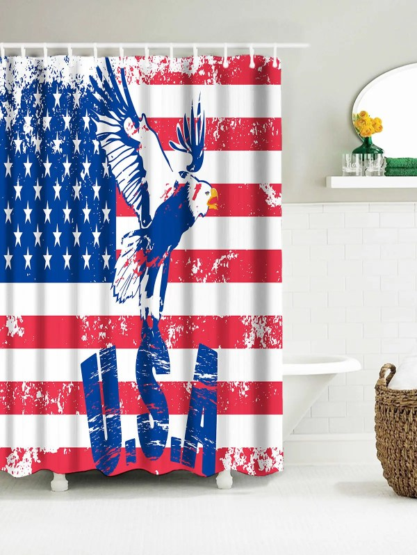 Eagle American Flag Shower Curtain