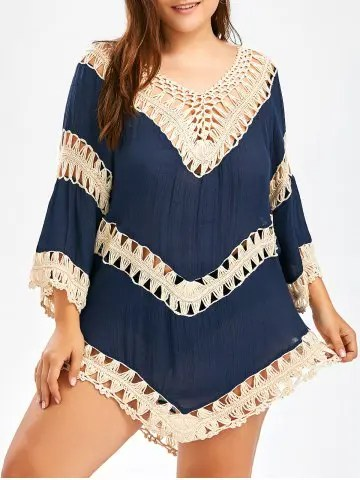 Firstgrabber Plus Size Asymmetric Crochet Panel Cover-Up