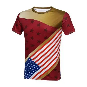 Crew Neck American Flag T Shirt