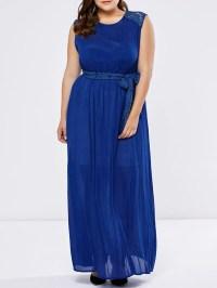 Lace Trim Floor Length Plus Size Prom Dress, BLUE, XL in ...