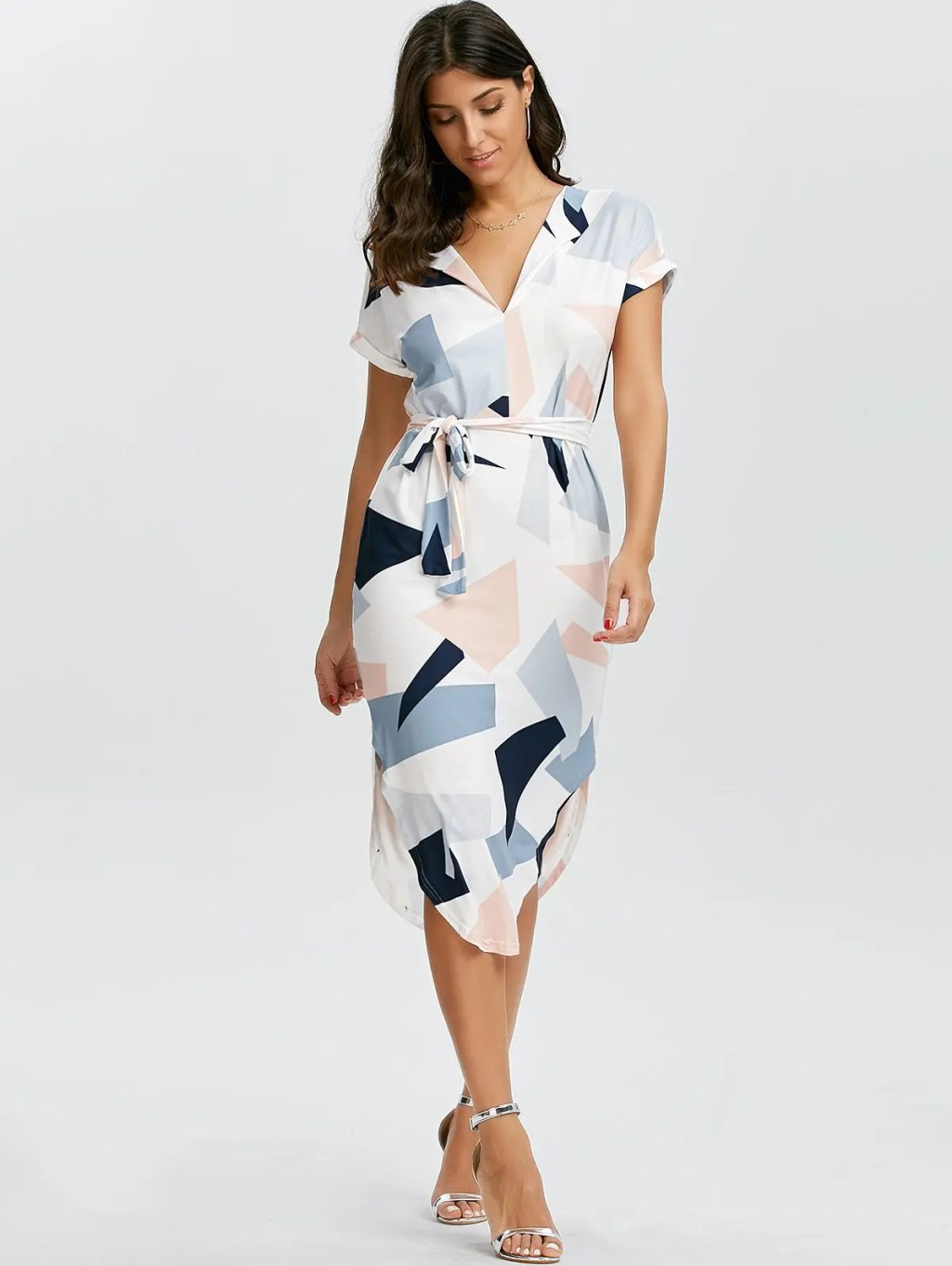 Geometric Print Short Sleeve Midi Dress - WHITE L