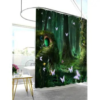 2018 Mew Forest Mildew Resistant Fabric Shower Curtain BLACKISH GREEN W INCH L INCH In Shower