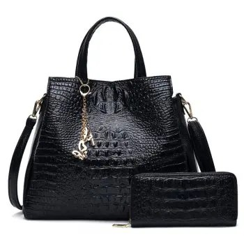 Crocodile Embossed Handbag Set