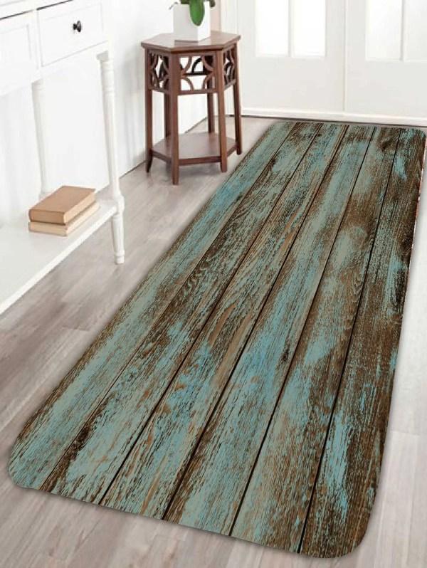 2018 Wood Grain Print Bathroom Rug Green L In