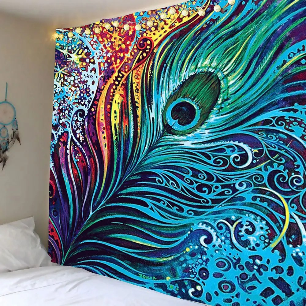 2018 Peacock Feather Print Wall Tapestry COLORFUL W INCH L