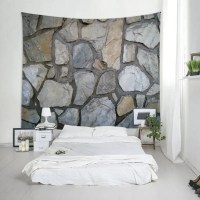 2018 Stone Wall Print Tapestry Wall Hanging Art GRAY W ...