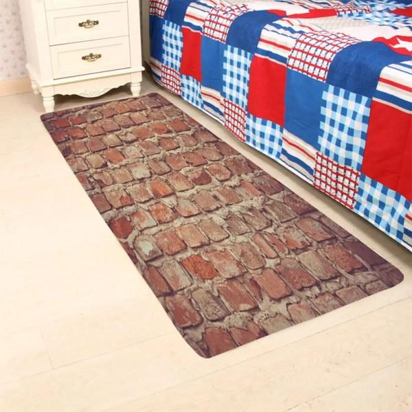 2018 Brick Wall Slip Coral Fleece Floor Rug Brown