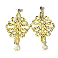 Rhinestoned Chinese Knot Teardrop Earrings, YELLOW in ...