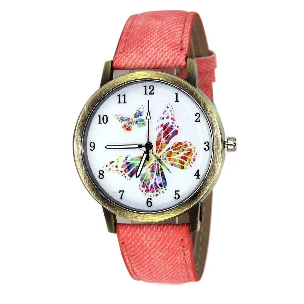 2018 Butterfly Face Faux Leather Watch PINK In Womens