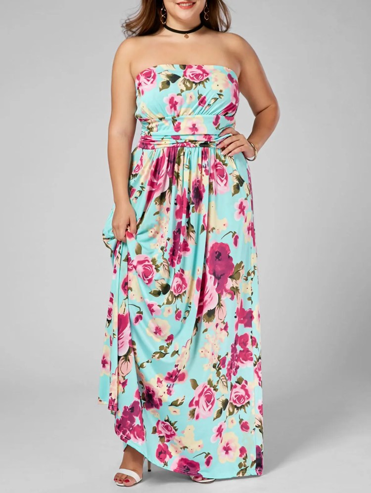 Pavimento Floral Plus Size Vestido Strapless