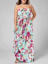 2018 Floor Length Floral Plus Size Strapless Dress ...