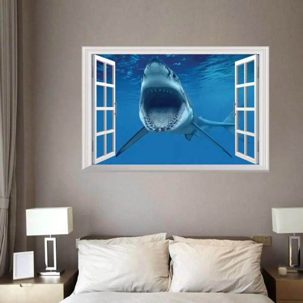 2018 Window Shark 3d Wall Art Sticker Bedrooms Blue