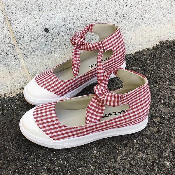 2018 Ankle Cuff Gingham Bow Flat Shoes Red In Flats Online