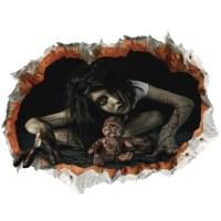 2018 Halloween Zombie 3D Broken Wall Art Sticker BLACK In ...