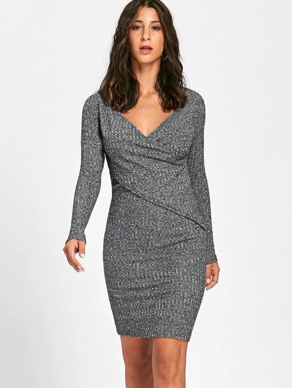 2018 Long Sleeve Ribbed Surplice Knit Dress Gray Xl In