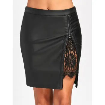 Lace Insert Fitted Faux Leather Skirt
