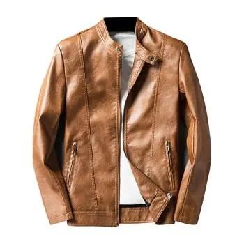 Mandarin Collar Zip Up Faux Leather Jacket