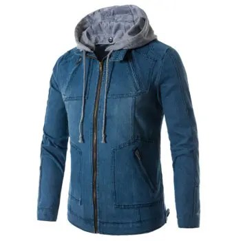Hooded Zip Up Denim Jacket