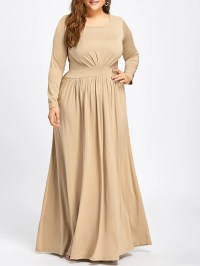 Long Sleeve Plus Size Floor Length Dress, APRICOT, XL in ...