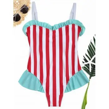 Ruffle Striped  Swimwear