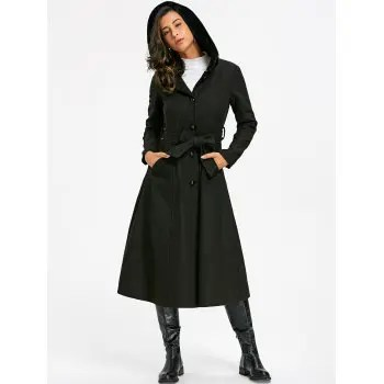 Hooded Flare Coat with Tie Belt