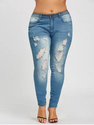Firstgrabber Plus Size Slim Fitted Ripped Jeans